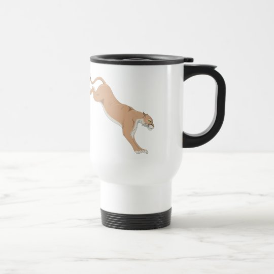 Leaping Cougar/Puma/Mountain Lion Travel Mug