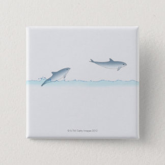 Leaping Dolphin 15 Cm Square Badge