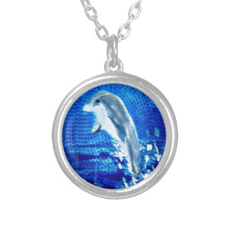 Leaping Dolphin Art Silver Plated Necklace