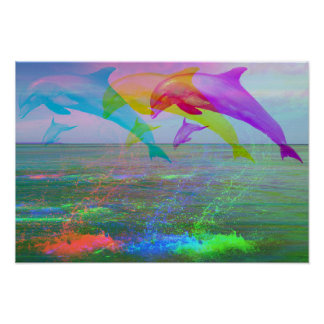 Leaping dolphins rainbow poster