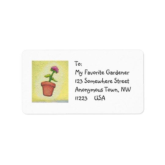 Leaping flower pot - Fun art for gardeners Address Label