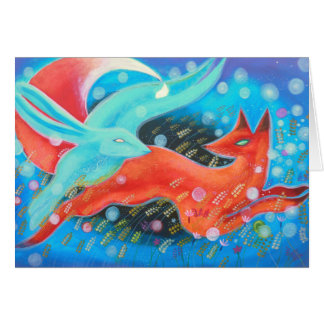 Leaping Fox with Hare. Greeting Card