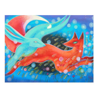 Leaping Fox with Hare. Postcard