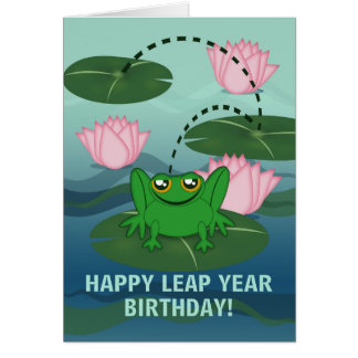 Leaping Frog, Leap Year Birthday Card