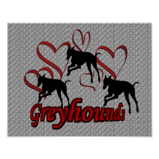 Leaping Greyhounds And Red Hearts Poster