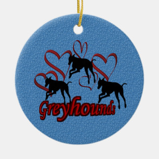 Leaping Greyhounds Hearts Dog Ornament