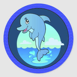 Leaping Happy Dolphin Round Sticker