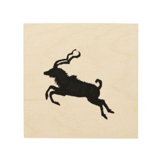 Leaping kudu silhouette wood wall art