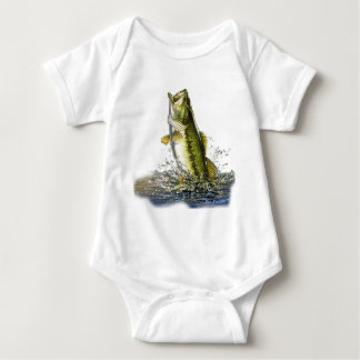 Leaping largemouth bass baby bodysuit