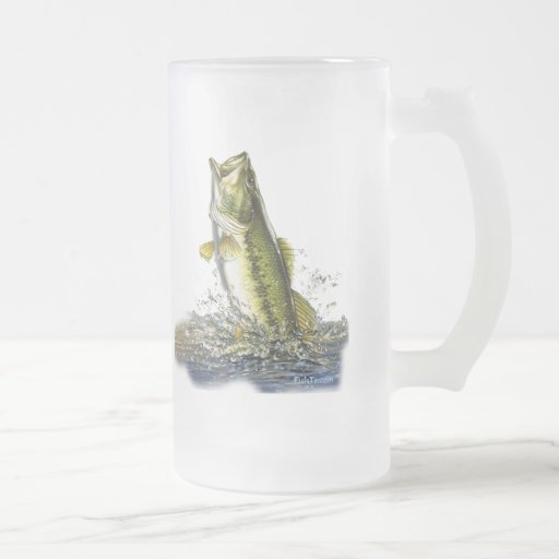 Leaping largemouth bass frosted glass mug