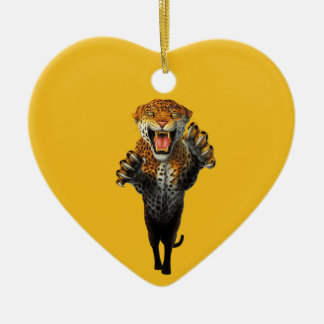 Leaping Leopard - a bit of an animal Ceramic Heart Decoration