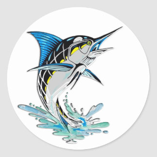 Leaping Marlin Round Sticker