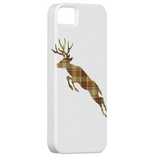 Leaping Plaid Deer Silhouette Cell Phone Case