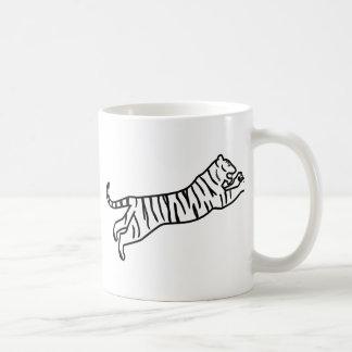 Leaping/Pouncing/Attacking Tiger Line Art Basic White Mug