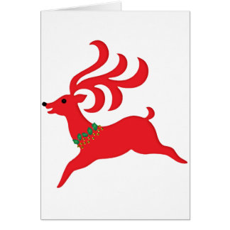 Leaping Red Reindeer Silhouette Greeting Card