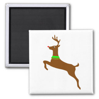 Leaping Rudolph The Red Nose Reindeer Square Magnet