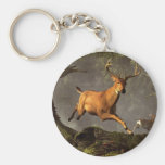 Leaping Stag Basic Round Button Key Ring