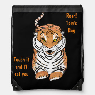 Leaping Tiger Drawstring Backbacks Backpacks