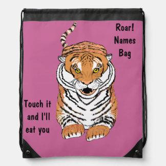Leaping Tiger Drawstring Backbacks Drawstring Backpacks