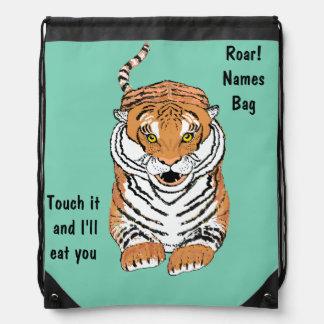 Leaping Tiger Drawstring Bags