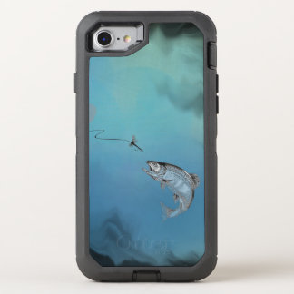 Leaping Trout Fly Fishing on watery blue backing OtterBox Defender iPhone 8/7 Case