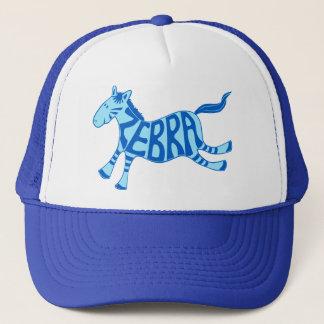 Leaping zebra (blue) trucker hat