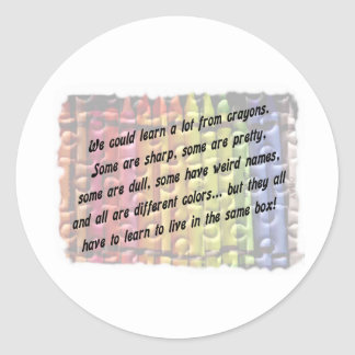 learn from crayons classic round sticker