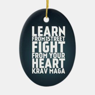 Learn from the Street Krav Maga black Christmas Ornament