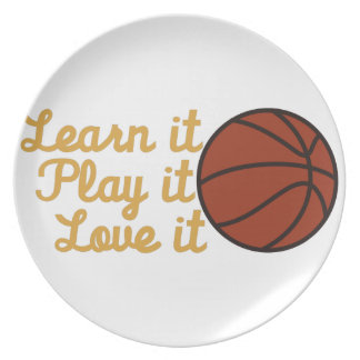 Learn It Basketball Party Plate