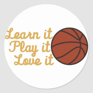 Learn It Basketball Round Sticker