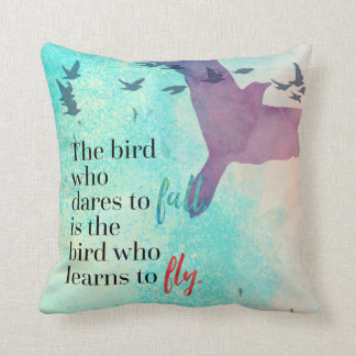 Learn To Fly Quote Throw Pillow