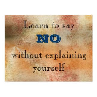 Learn to say No Inspirational Wisdom Postcard