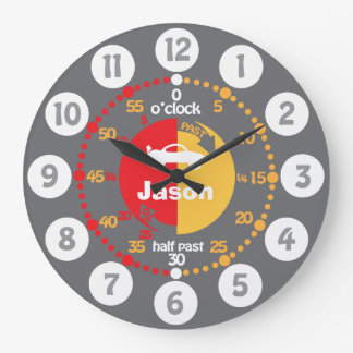 Learn to tell time grey red named boys car clock