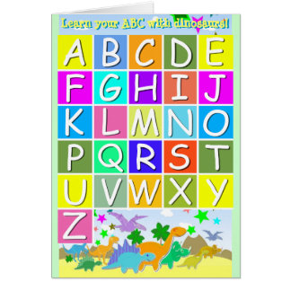 Learn Your ABC With Dinosaurs Letters A-Z Alphabet Greeting Card