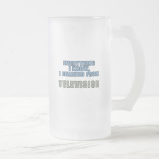 Learned from Television Frosted Glass Beer Mug