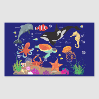 Learning Candy Under The Sea, Marine World Rectangular Sticker