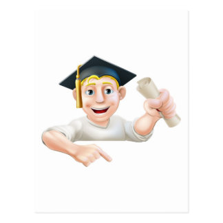 Learning graduate man pointing down postcard