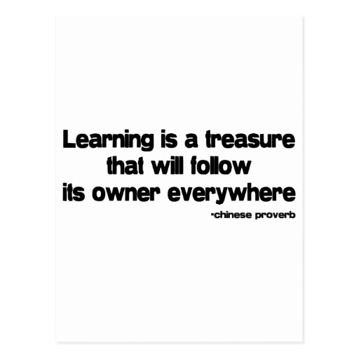 Learning is a Treasure quote Post Cards