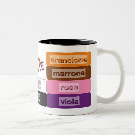 learning italian vocabulary colours Two-Tone coffee mug