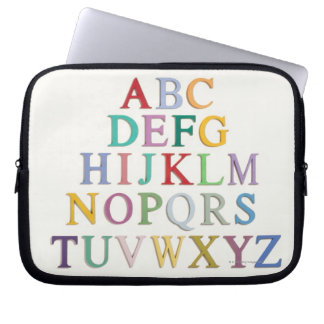 learning, letters, alphabet laptop sleeve