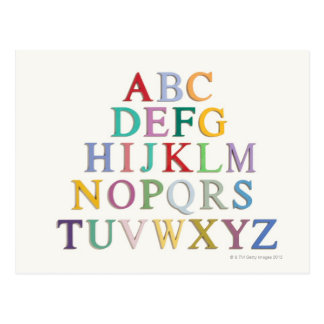 learning, letters, alphabet postcard