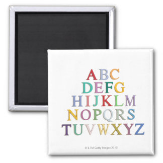 learning, letters, alphabet square magnet
