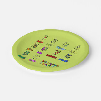 LEARNING NUMBERS FUNTIME 7 INCH PAPER PLATE