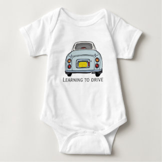 Learning to Drive Custom Baby Bodysuit, Pale Aqua Baby Bodysuit