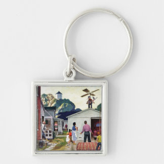 Learning to Fly Silver-Colored Square Key Ring