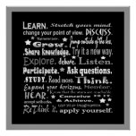 learning words collage in black poster