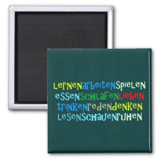 learns works loves etc. square magnet