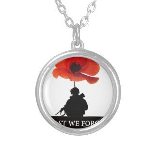 LEAST WE FORGET AFGHANISTAN TROOPER SILVER PLATED NECKLACE