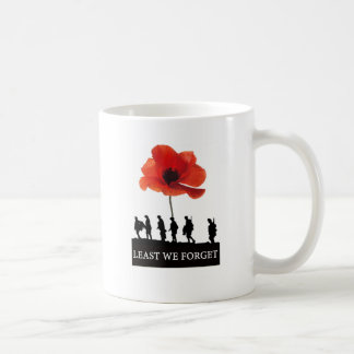 LEAST WE FORGET SOLDIERS MARCHING COFFEE MUG
