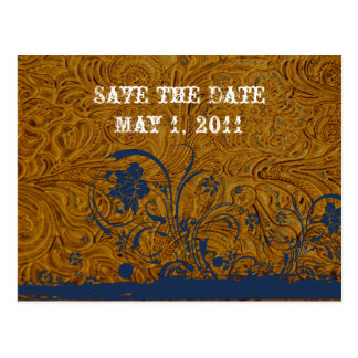 Leather and Blue Lace Save the Date Post Card